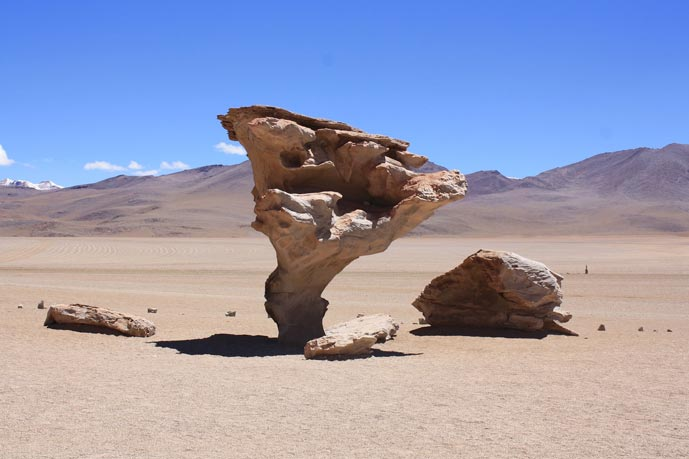 Rock formation in Salvador Dali desert in Bolivia