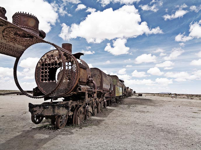 Trains cemetery in the Bolivian Salt Flats