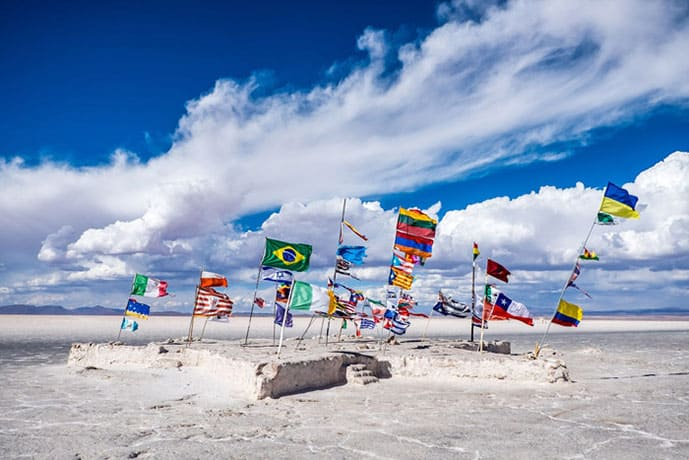 Flags at Salar de Uyuni