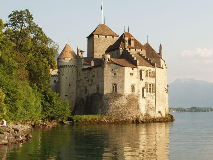 Romantic Lausane and a lake in Switzerland