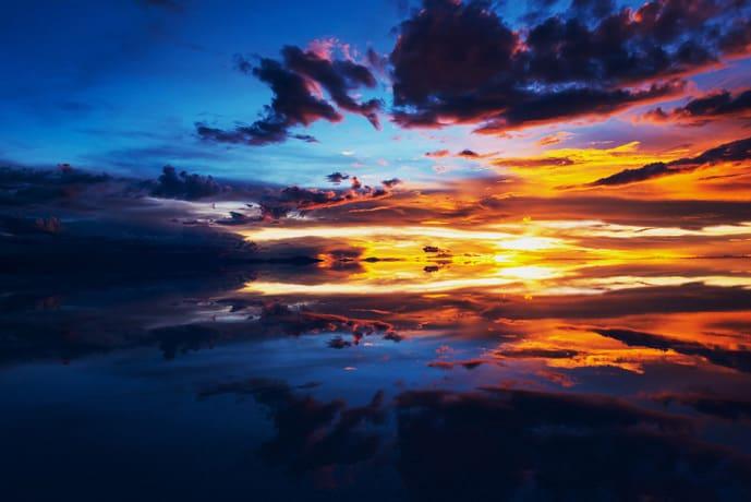 Sunrise reflection on Salar de Uyuni
