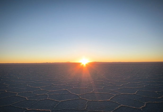 Sunrise at the Bolivian salt flats
