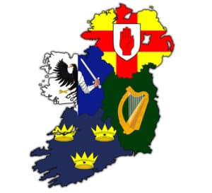 Flags of four provinces of Ireland