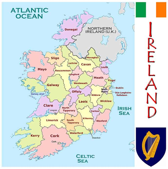 Facts of Ireland map of counties
