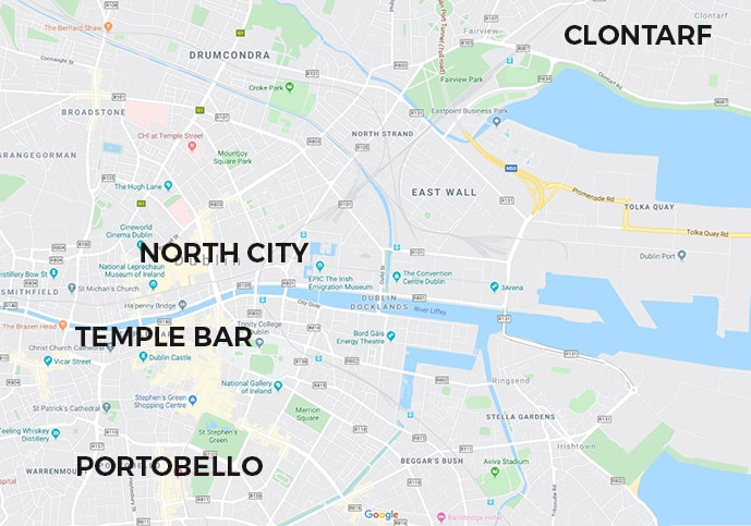 Map of Dublin neighborhoods