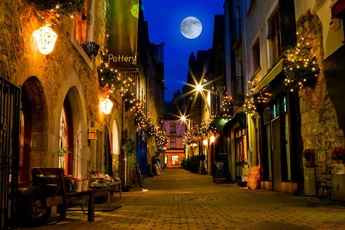 Galway City center at night