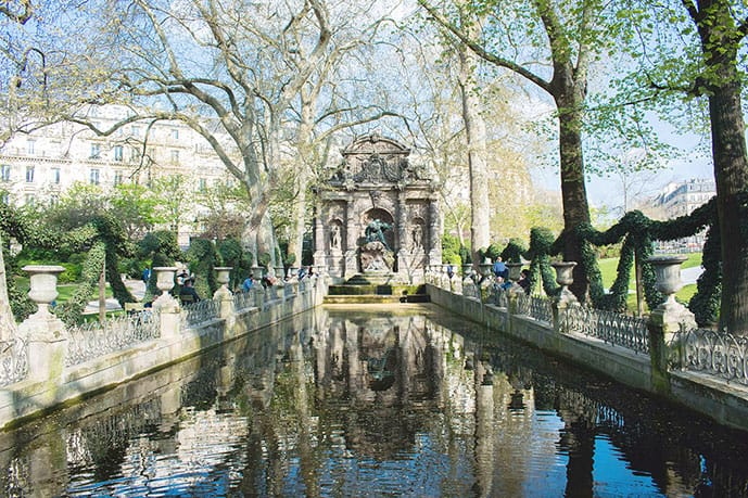 The Medici Fountain in Luxembourg Gardens in Paris in March
