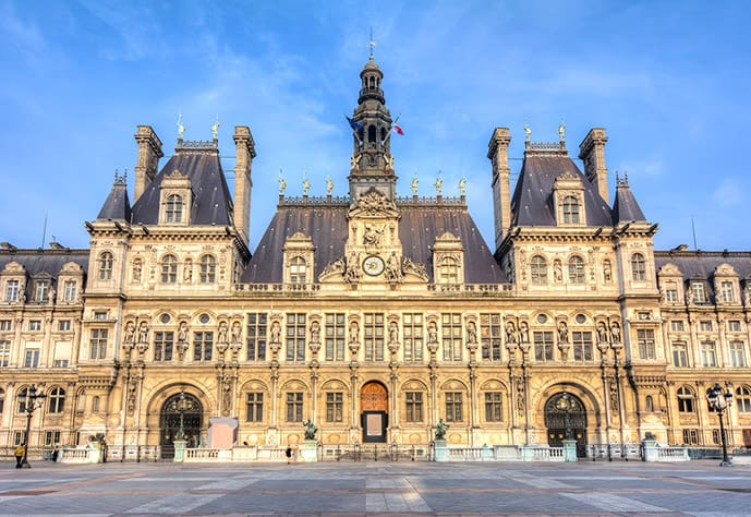 Le Marais is one of the best places to stay in Paris. In the picture, Hotel de Ville, the City Hall of Paris