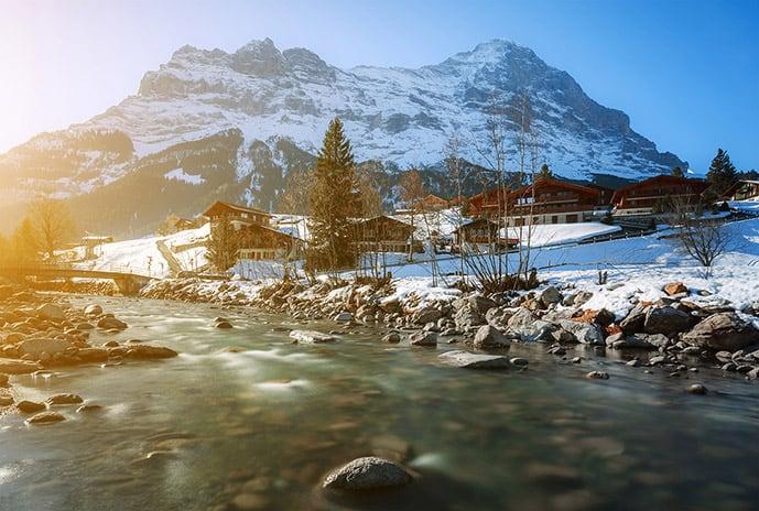 Skiing in Interlaken is one of the best things to do in Switzerland in winter