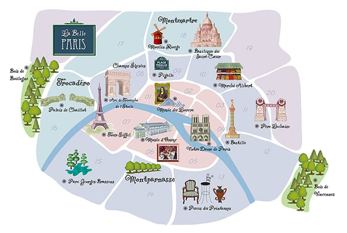 Map of the best neighborhoods to stay in Paris