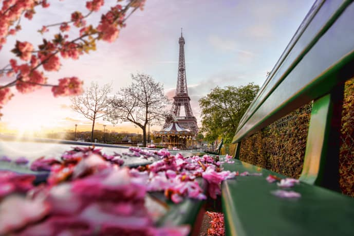 Flowers near the Eiffel Tower in April