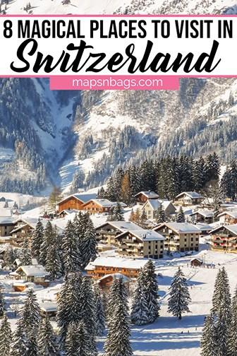 Switzerland in winter Pinterest graphic
