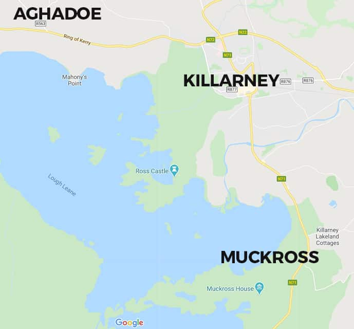 Map of Killarney hotels