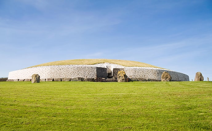 The Newgrange tomb in Boyne Valley is a short day trip from Dublin, Ireland