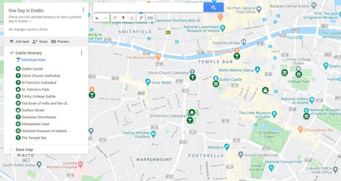 Map of Dublin in a day