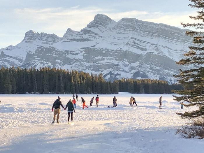 Skating at Two Jack Lake in Banff