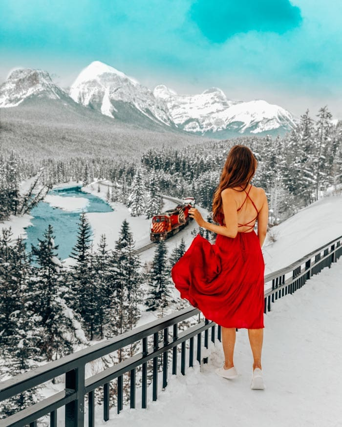 Girl in red dress in Banff, Canada
