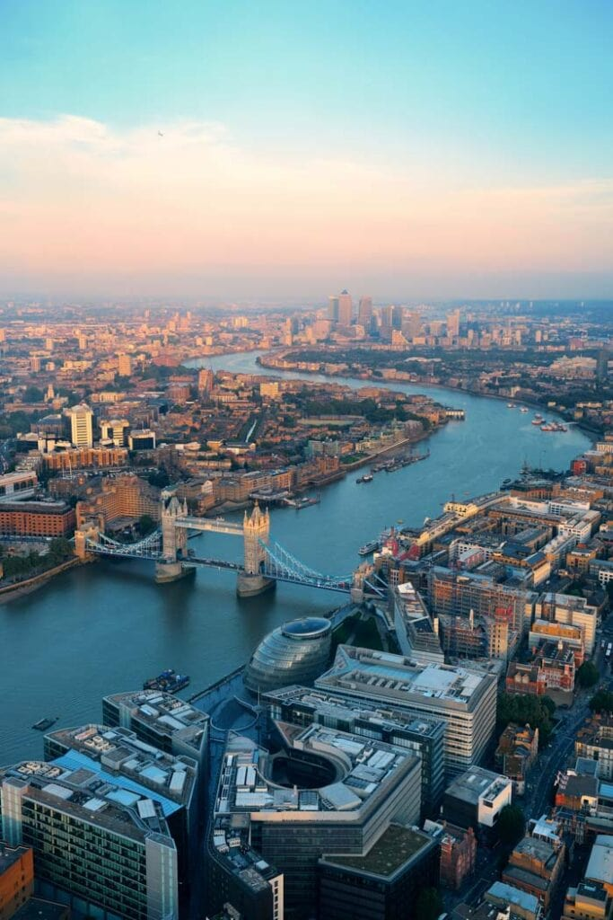 Aerial photograph of secret places in London