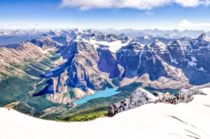 View from Mount Temple over Lake Moraine in Banff