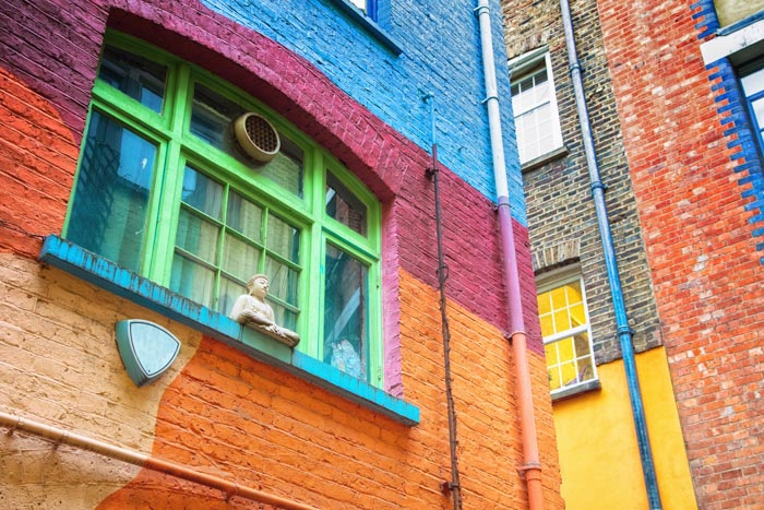 The colorful house in Neals Yard is a hidden gem in London