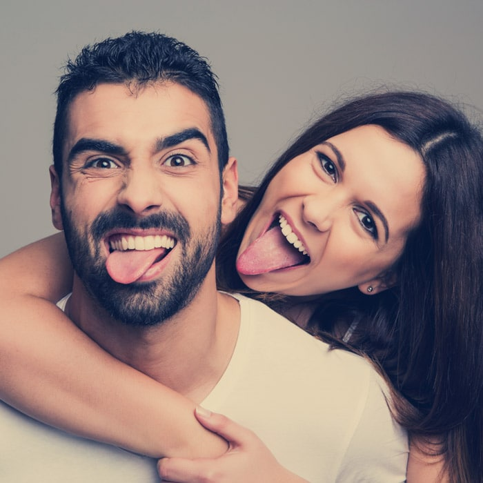 Couple being silly together is a great couples bucket list idea