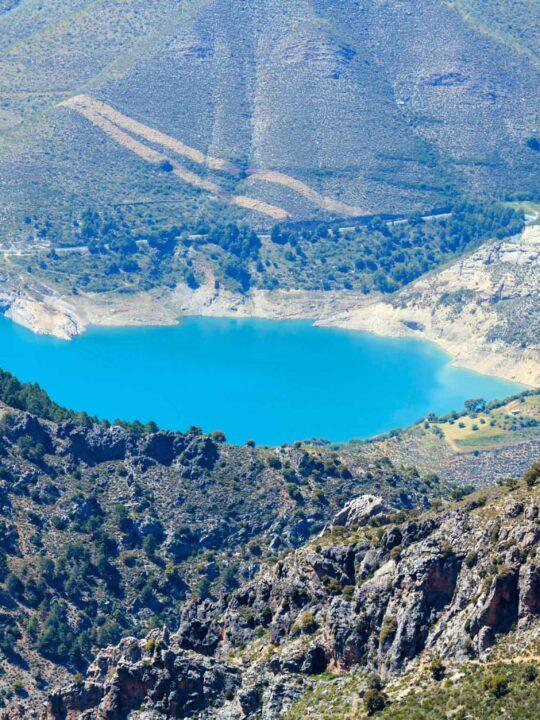 Blue lake in Sierra Nevada National Park, near Granada, Spain