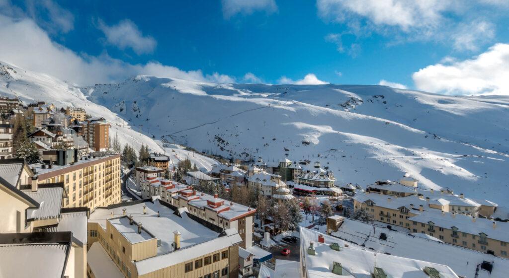 View of ski resort in Sierra Nevada, Spain