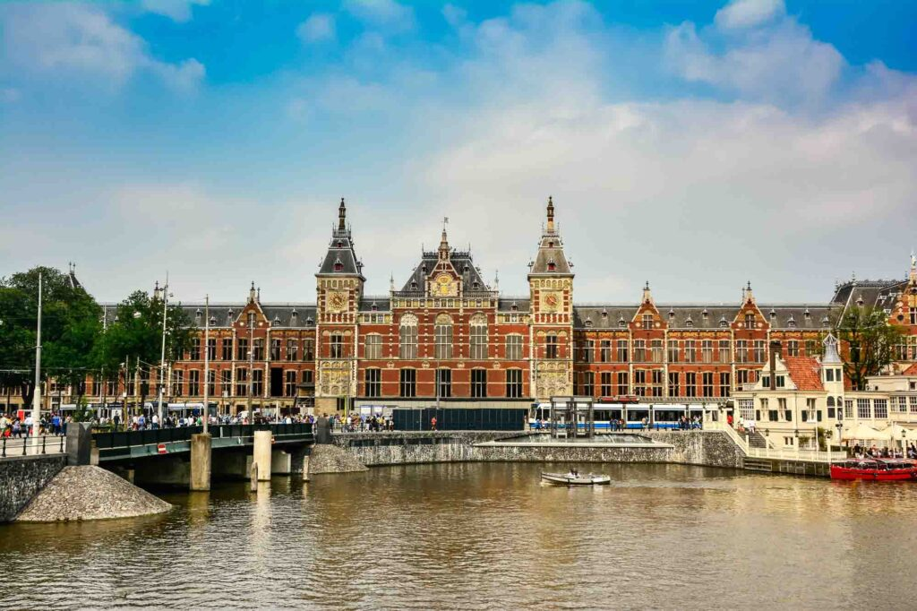 Amsterdam Central Station is one of the famous landmarks in the Netherlands